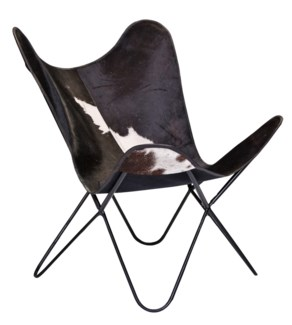 Iron Butterfly Chair, Cow Hide Leather, 27x27.5x37 inches