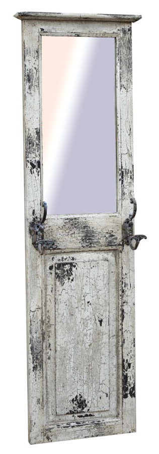 Old Door Mirror U0026 Hookboard, 17x2x59 Inches