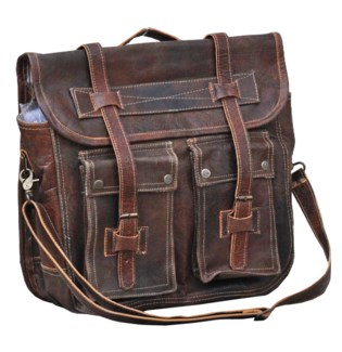 Leather Satchel, Dist. Brn, 15x6x12 inches