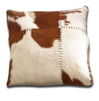 Outback Cow Hide Square Cushion, 18.9X18.9