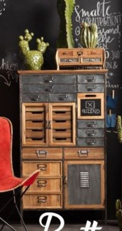 Lucas Multi Drawer Cabinet, wood w/metal 77x32x133 inches