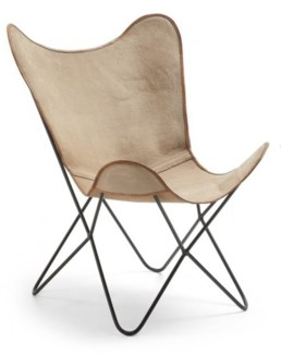 Butterfly Chair, Beige, 27x28x37 inches
