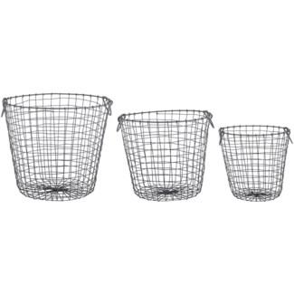 Wire basket round set/3 L -  12.13x12.13x30.4