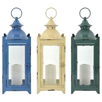 Lantern 3 colours M. Iron, glass. 14,5x15,4x38,6cm. oq/6,mc/6 Pg.31