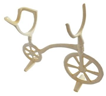 Bike Wine Stand, cast iron, antique white finish, 11x3.7x9.1 inches On Sale 25 percent off