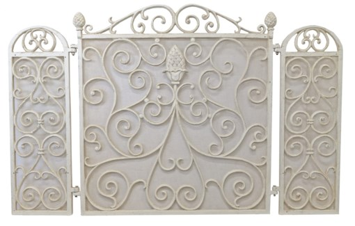 Pineapple Fire Place Screen, antique white, 41.7x26.4x1.4inch
