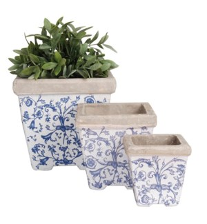Aged ceramic flower pot set of 3. Ceramics. 10,3x10,3x10,7/14,3x14,3x14,3/20,0x20,0x19,2cm. oq/2,mc/