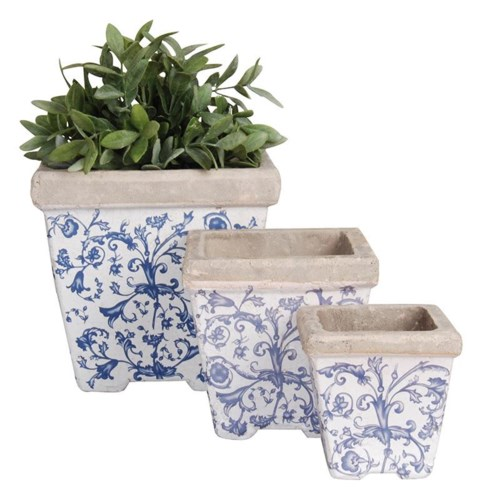 Aged ceramic flower pot set/3