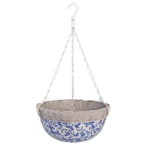 Aged ceramic hanging basket. C