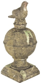 Aged Ceramic finial bird with moss L - (8.7x8.7x19.3 inches)