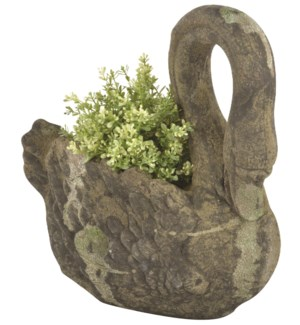 Aged Ceramic planter swan with moss - (14x6.7x14.3 inches)