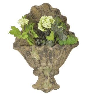 Aged Ceramic wall planter with moss - (12.6x3.9x16.9 inches)