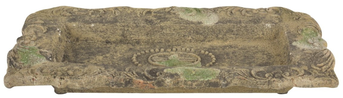Aged Ceramic plate with moss L -  (17.2x8.9x2.3 inches)