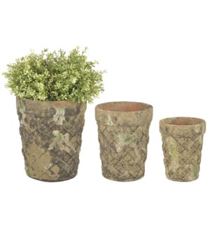 Aged Ceramic flower pot set of 3 with moss - (4.65x4.65x6 / 6.5x6.5x7.9 / 7.8x7.8x9.4 inches)