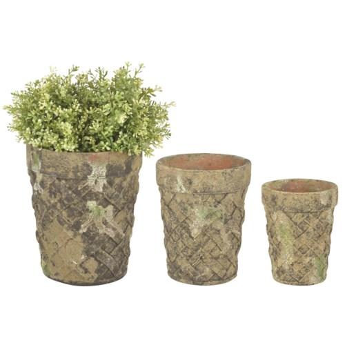 AC flower pot set of 3 moss