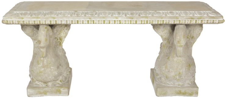 Aged Ceramic bench swan with moss - (43.3x14.2x18.1 inches)