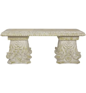 Aged Ceramic bench classic with moss - (43.3x14.2x18.1 inches)