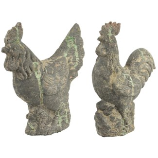 AC cockerel & chicken statues, 2Asst.- 11.25x4.75x14.25, 10x4.75x12 inches