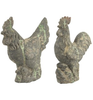 """AC cockerel & chicken statues, 2Asst.- 11.25x4.75x14.25, 10x4.75x12 inches"""