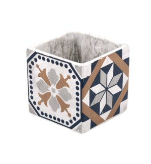 Portuguese tiles flower pot S, Concrete - 4.4x4.4x4.3in.