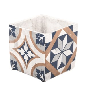 Portuguese tiles flower pot L, Concrete - 5.3x5.3x5.1in.