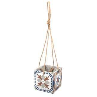 Portuguese tiles hanging pot L  - 5.3x5.3x5.1in.