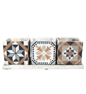 Portuguese tiles 3 pots on tray, Concrete - 14.1x5.4x4.8in.