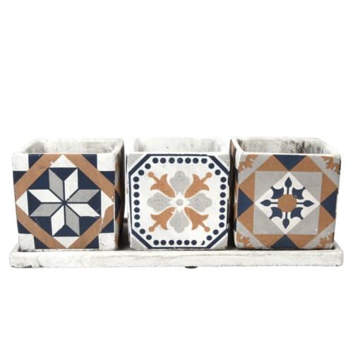 Portuguese Tiles 3 Pots On Tray