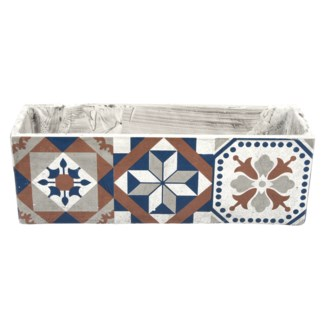 Portuguese tiles balcony pot, Concrete - 15.6x5.4x5.2in.