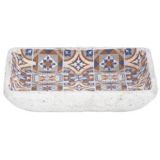 Portuguese tiles birdbath, Concrete - 10.5x10.5x2.2in.