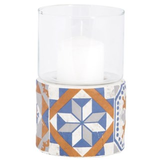 Portuguese tiles hurricane light, Concrete,glass - 4.4x4.4x6.8in.