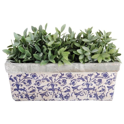 Aged ceramic balcony planter.