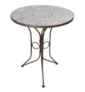 Aged ceramic table. Ceramics, wrought iron. 60,0x60,0x69,5cm. oq/2,mc/1 Pg.135