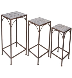 Aged ceramic set of 3 plant tables. Wrought iron. 21,5x21,5x55,0cm/25,4x25,4x64,6cm/30,0x30,0x74,5c
