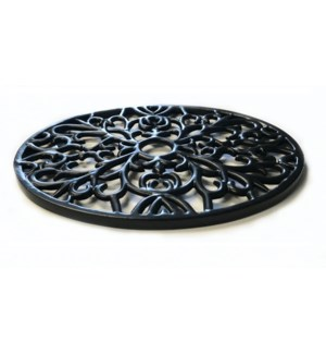 Trivet Oval, Black, Cast Iron 9x7 Inches