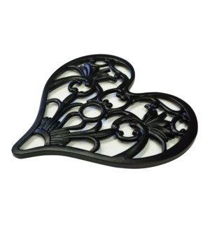Heart Shape Trivet, Gunmetal, Cast Iron, 9.5x9.5 Inches