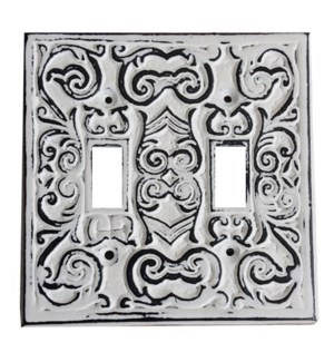Philip Dbl Switch Plate, Cast Iron, Ant. White, 4.7x4.7 On sale