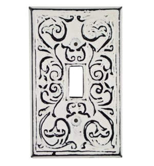 Philip Single Switch Plate, Cast Iron, Ant. White, 4.7x2.8 in On sale