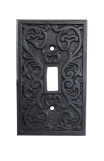 Philip Single Switch Plate, Cast Iron, Black PC,  4.7x2.8 in