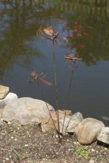 Flamed Triple Butterfly w/Spinning Wings Garden Stake - 9x7x27 inches - On Sale 50 percent off origi