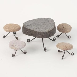 Miniature Stone Table and Stools Table:5x3,Stool:2.5x2.5 inch. Pg.60 - On Sale 50 percent off orig