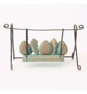 Miniature Aqua Terra Cotta/Wire Bench Swing 4.5x2x4.5 inch. Pg.62 - On Sale 50 percent off original