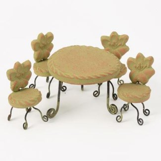 Miniature Green Terra Cotta Table and Chairs Table:4x3,Chair:2.25x3.5 inch. Pg.59 - On Sale 50 per