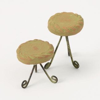 Miniature Green Terra Cotta Plant Stands, Set of 2 2.25x2.5/2.25x1.75 inch. Pg.59 - On Sale 50 per