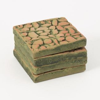Miniature Green Terra Cotta Patio Squares, Set of 4 3.5x3.5x.5 inch. Pg.59 - On Sale 50 percent of