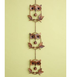 Triple Owl w/Bell on Branch Or