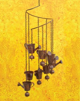 Flamed Watering Can Spiral Mobile - 8x33 inches