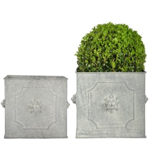 """AM lion flower pots square set/2 - 9.5x9.5x8, 11.75x11.75x9.75 inches"""