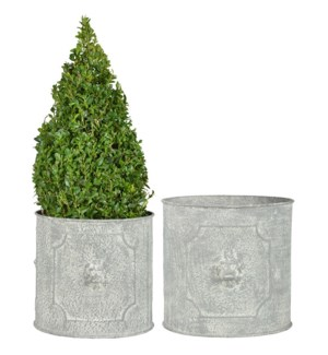 AM lion round flower pots set/2 - 8.5x9x8, 10.25x10.75x9.75 inches