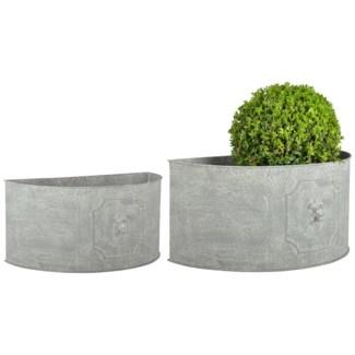 AM lion flower pots half round set2 - 16.75x8.75x8, 19.5x10.5x9.5 inches